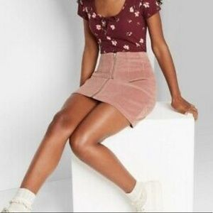 NWT Wild Fable Corduroy Zip Front Mini Skirt 16